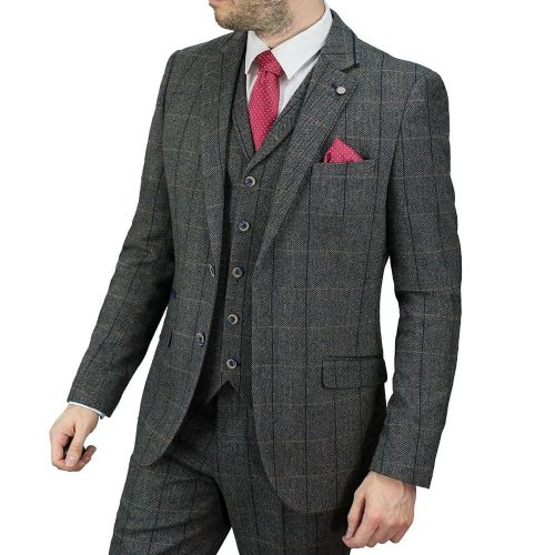Cavani Tweed Check Jacket - Grey